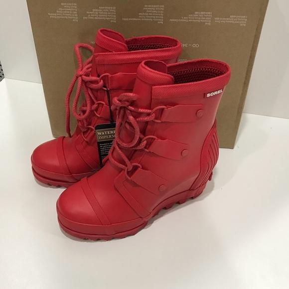 52d83ba15f7d Sorel Joan Rain Wedge Matte Red size 6